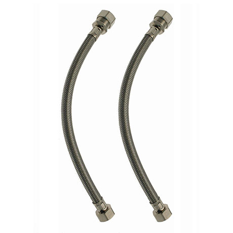 """Pair of 15mm x 1/2"""" Swivel Braided Flexi Tap Connectors - 300mm"""