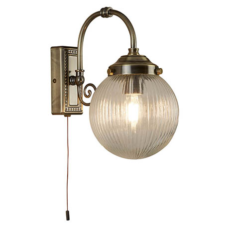 Searchlight Belvue Antique Brass 1 Light Wall Light with Clear Globe Shade - 3259AB