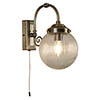 Searchlight Belvue Antique Brass 1 Light Wall Light with Clear Globe Shade - 3259AB profile small image view 1