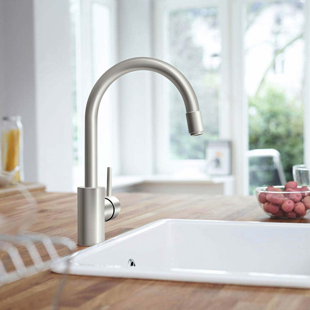 Grohe Concetto Kitchen Sink Mixer with Pull Out Spray - SuperSteel - 32663DC1 profile large image view 3