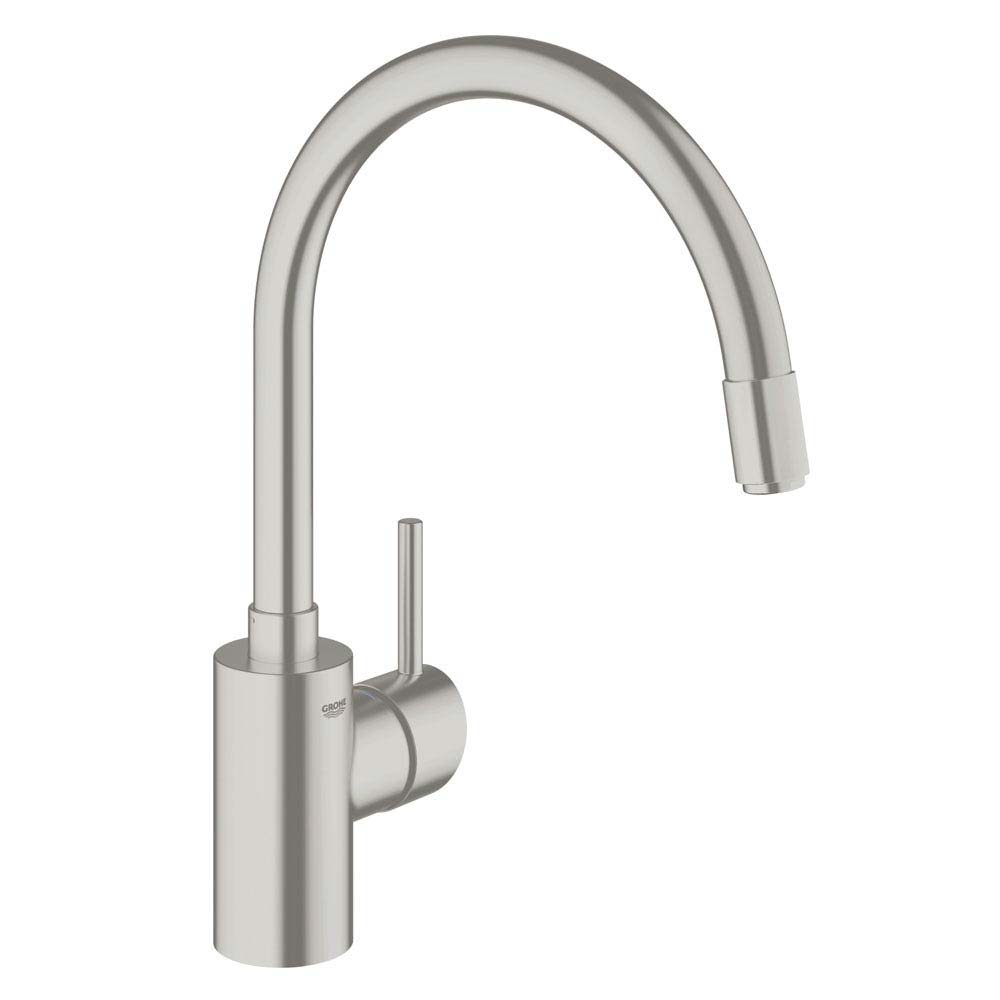 Grohe Concetto Kitchen Sink Mixer with Pull Out Spray - SuperSteel - 32663DC1 profile large image view 1