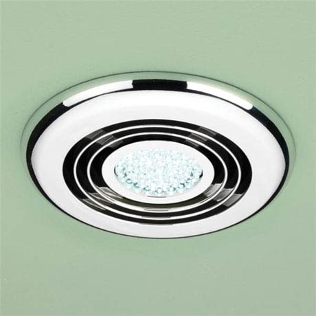 HIB Cyclone Chrome Wet Room Inline Fan with LED Lights - Cool White - 32700