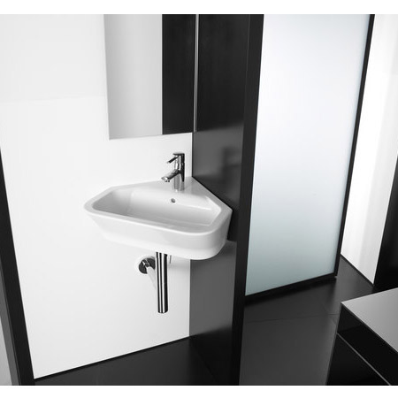 Roca - The Gap 480mm wall mounted corner basin - 1 tap hole - 32747R000 Profile Large Image