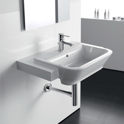 Roca - The Gap W560 x D420 semi recessed basin - 1 tap hole - 32747S000 Profile Large Image