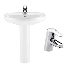 Roca Laura 560mm 1TH Basin with Full Pedestal + Victoria Basin Tap Pack