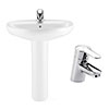 Roca Laura 560mm 1TH Basin with Full Pedestal + Victoria Basin Tap Pack profile small image view 1