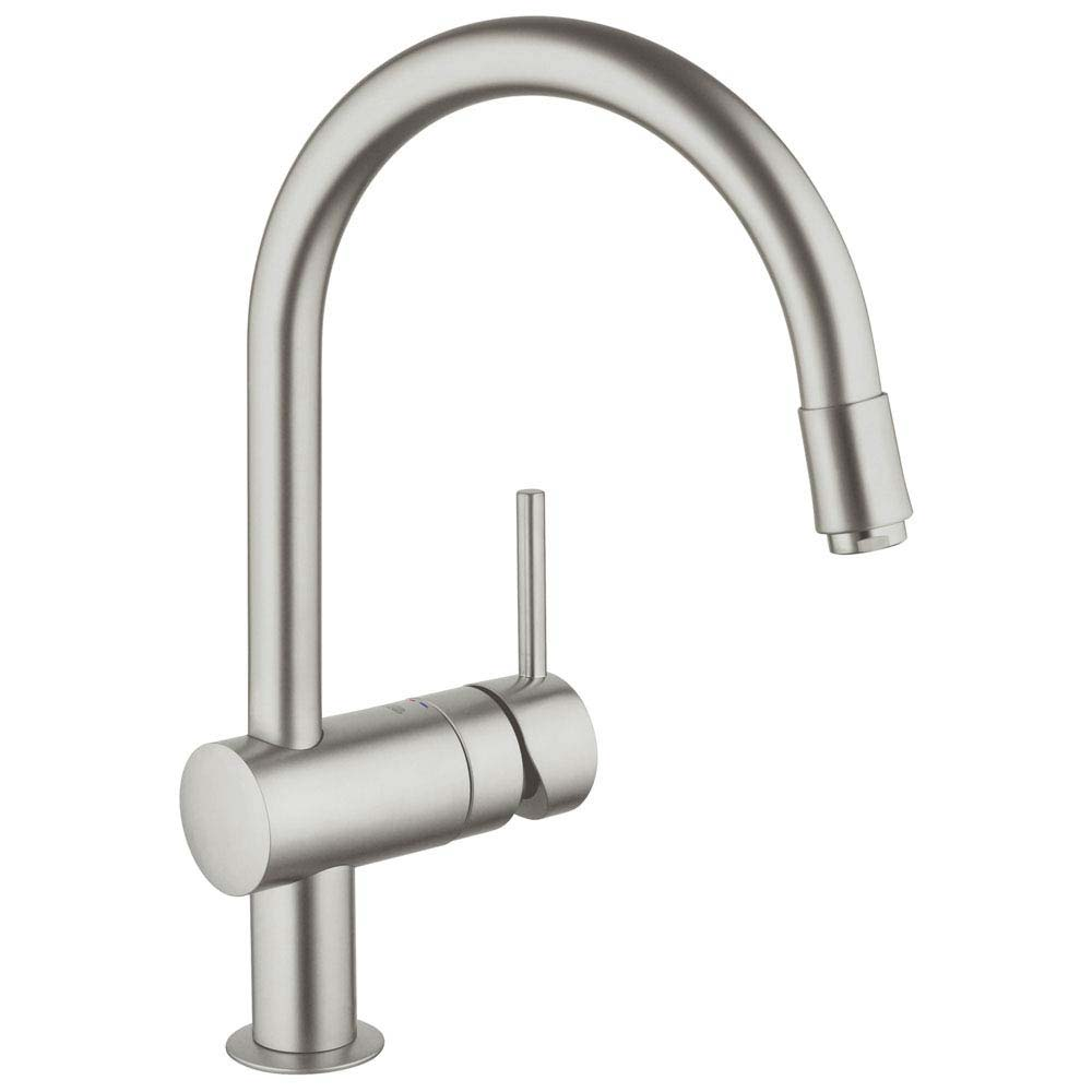 Grohe Minta Kitchen Sink Mixer with Pull Out Spray - SuperSteel - 32918DC0 profile large image view 1