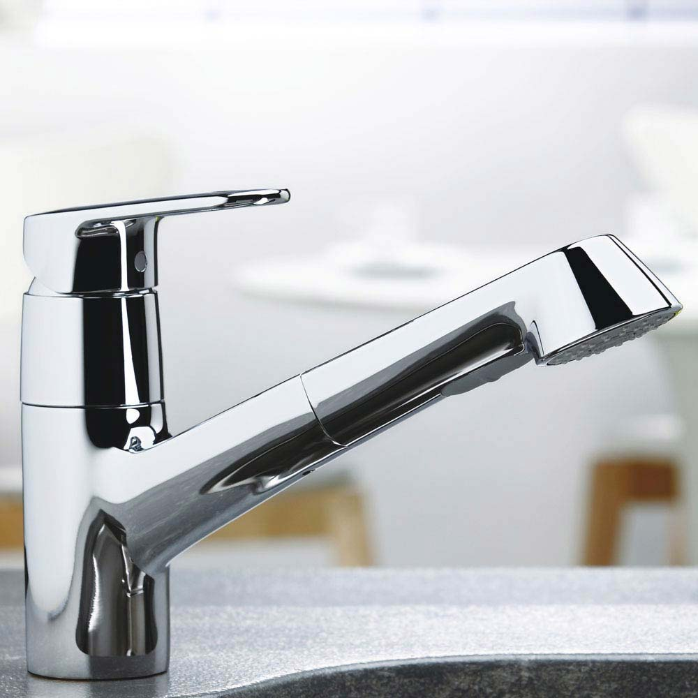 Grohe Europlus Kitchen Sink Mixer with Pull Out Spray - 32942002 profile large image view 2