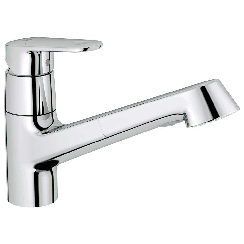 Grohe Europlus Kitchen Sink Mixer with Pull Out Spray - 32942002 profile large image view 1