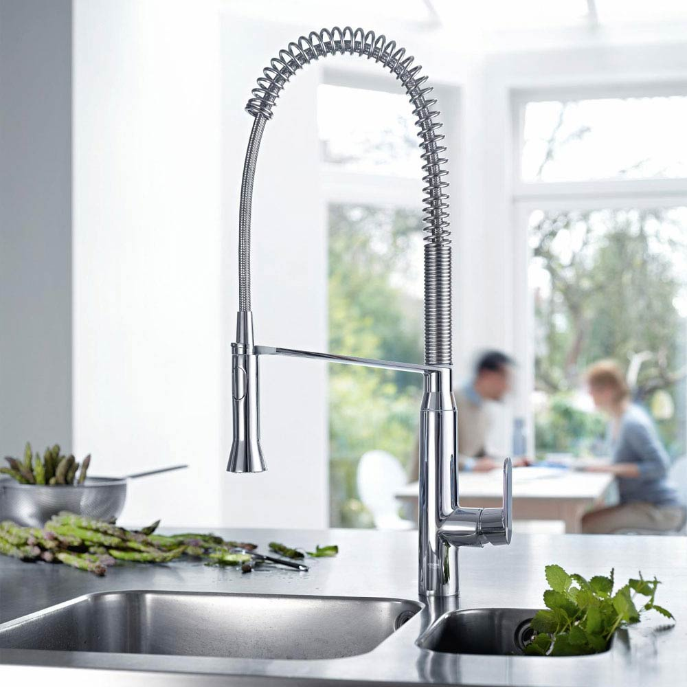 Grohe K7 Kitchen Sink Mixer with Professional Spray - Chrome - 32950000 profile large image view 2