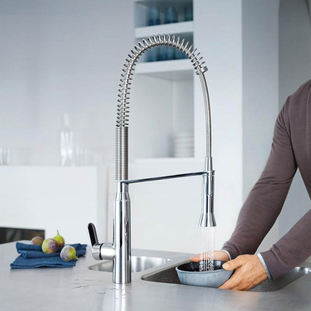 Grohe K7 Kitchen Sink Mixer with Professional Spray - Chrome - 32950000 profile large image view 3