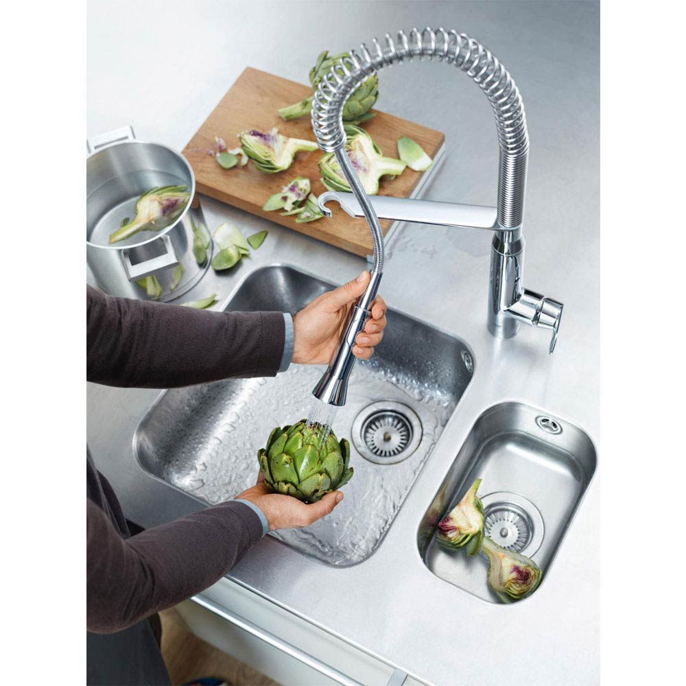Grohe K7 Kitchen Sink Mixer with Professional Spray - Chrome - 32950000 profile large image view 4