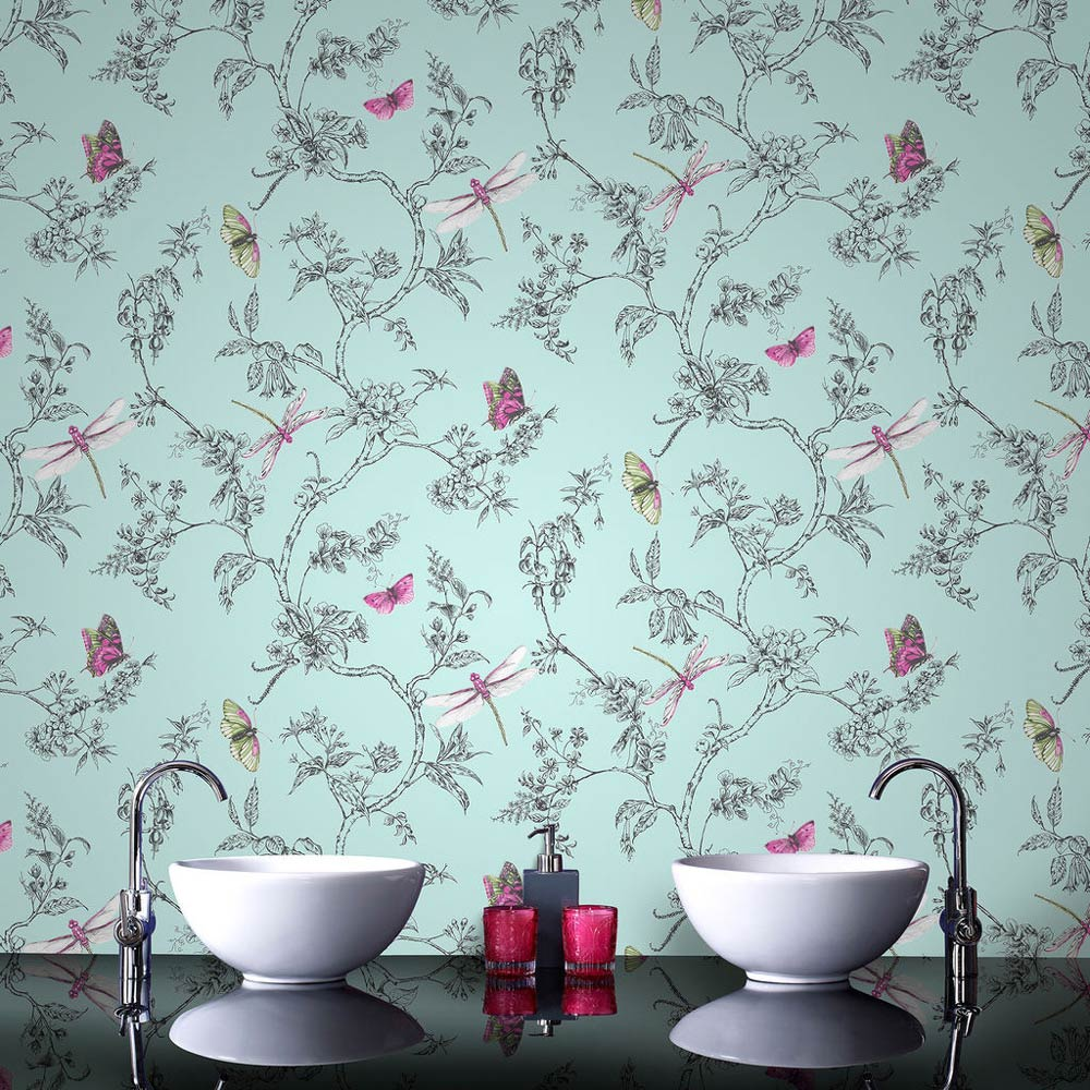 Graham Amp Brown Nature Trail Duck Egg Bathroom Wallpaper