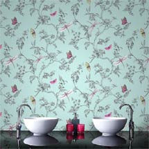 Graham & Brown - Nature Trail Duck Egg Bathroom Wallpaper - 33-002 Medium Image