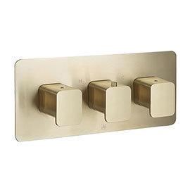 JTP Hix Brushed Brass Triple Outlet Thermostatic Concealed Shower Valve Horizontal