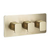 JTP Hix Brushed Brass Triple Outlet Thermostatic Concealed Shower Valve Horizontal profile small image view 1