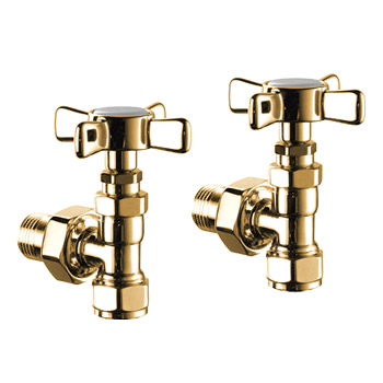 Mere Radiator/Towel Rail Cross Head Angle Valves (pair) - Gold - 34-1084 Large Image