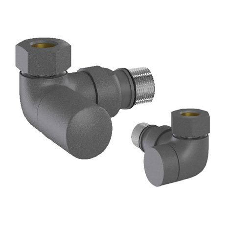 Tissino Hugo2 Double Angled Radiator Valves - Anthracite