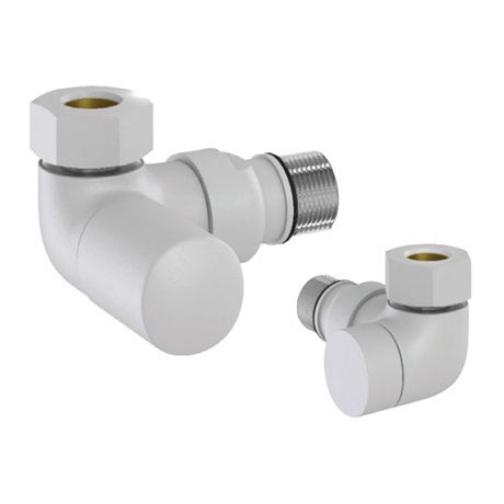 Tissino Hugo2 Double Angled Radiator Valves - Mont Blanc