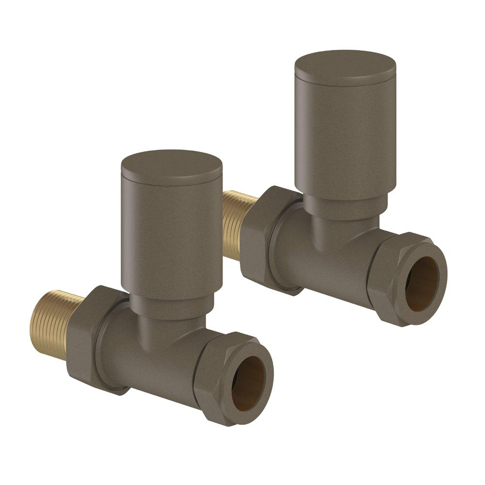 Tissino Hugo2 Straight Radiator Valves - Arabica Large Image