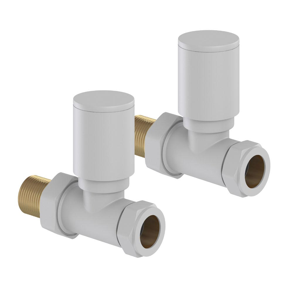 Tissino Hugo2 Straight Radiator Valves - Mont Blanc Large Image
