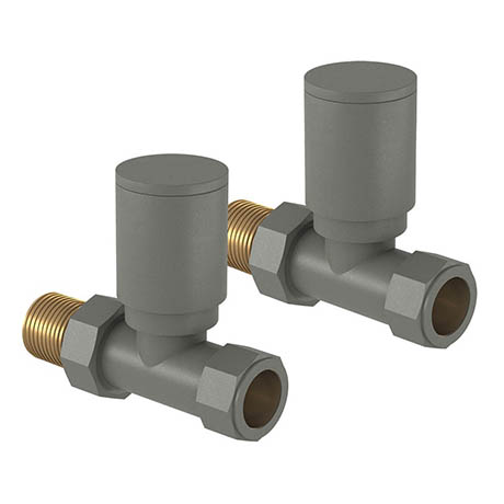 Tissino Hugo2 Straight Radiator Valves - Lusso Grey