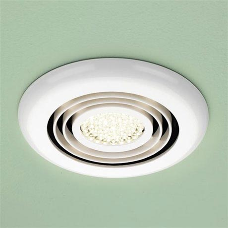 HIB Turbo White Bathroom Inline Fan with LED Lights - Warm White - 34000