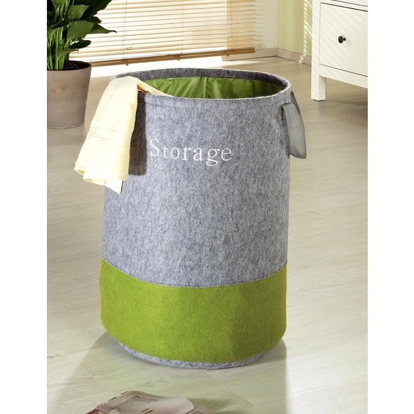 Wenko Felt Pop-up laundry Bin - Grey/Green - 3440203100 Profile Large Image