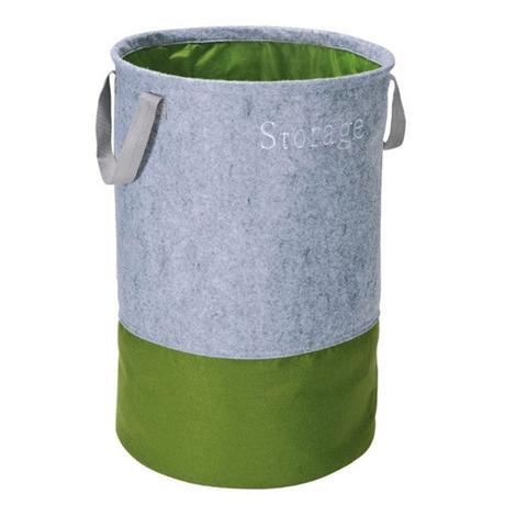 Wenko Felt Pop-up laundry Bin - Grey/Green - 3440203100