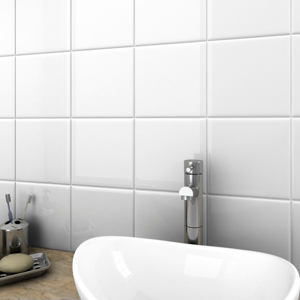 35 bright gloss white wall tiles online now at victorian plumbing for Big white bathroom wall tiles