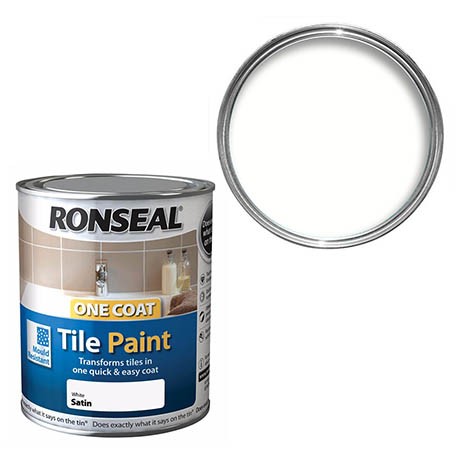 Ronseal One Coat Tile Paint 750ml - White Satin