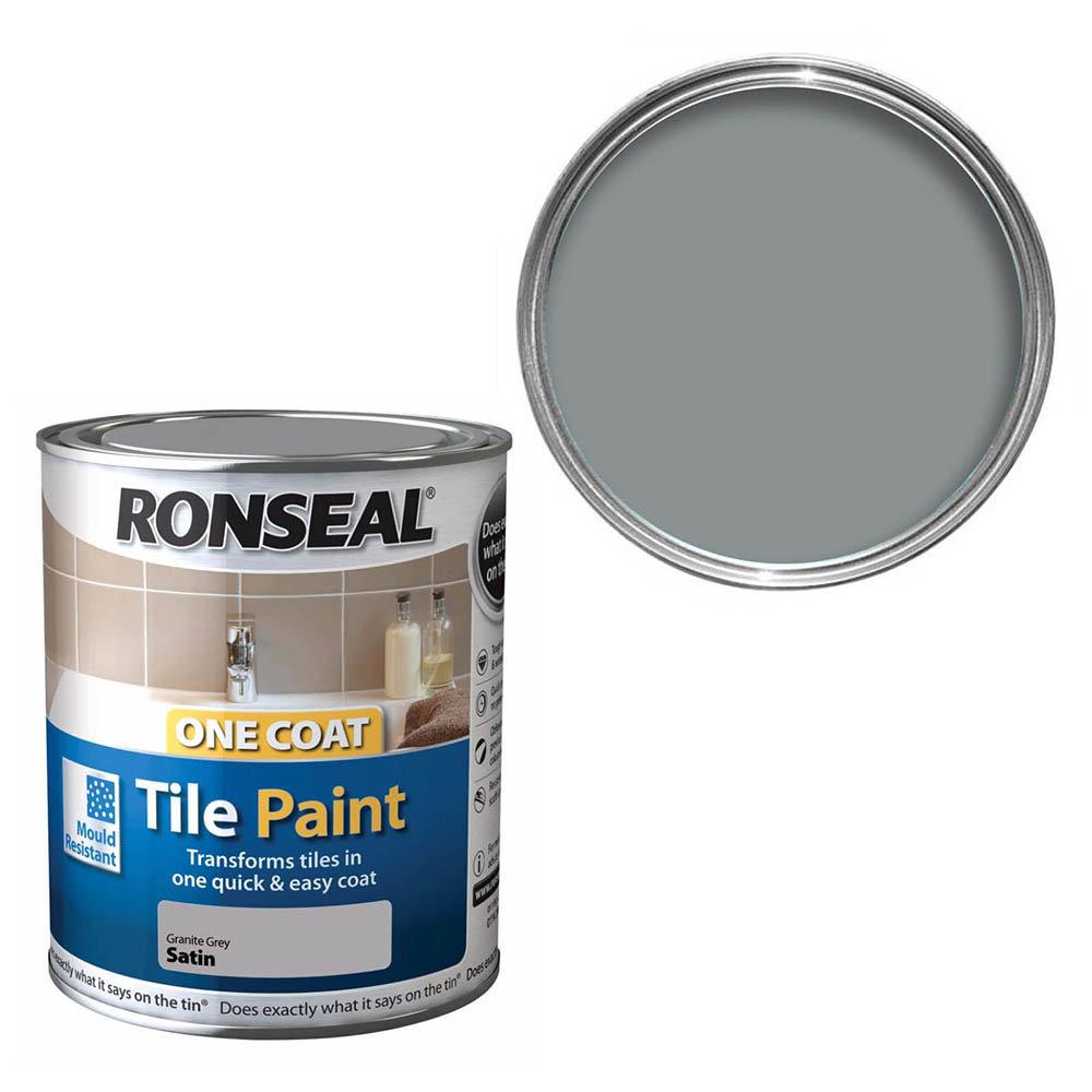 Ronseal One Coat Tile Paint 750ml - Granite Grey Satin