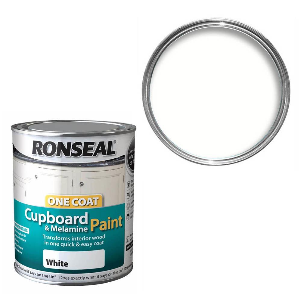 Ronseal One Coat Cupboard & Melamine Paint 750ml - White Satin