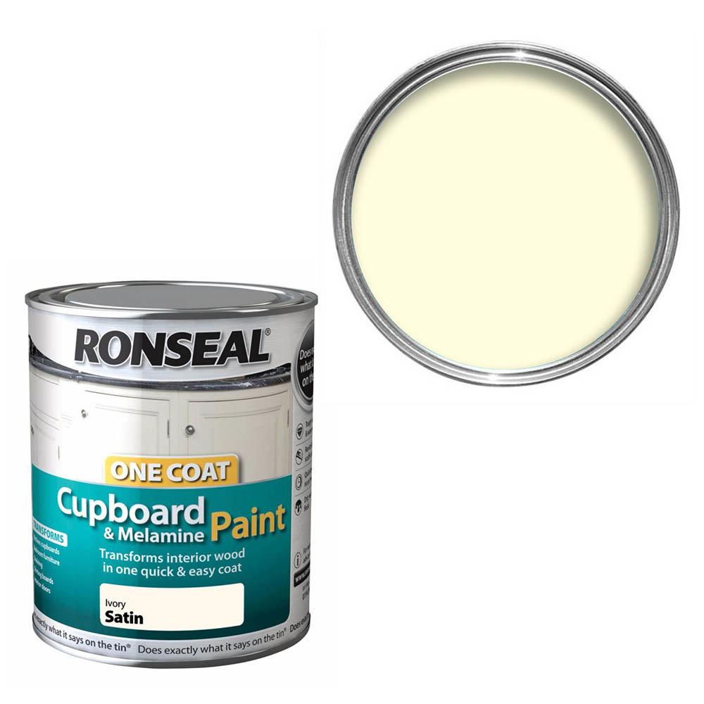 Ronseal One Coat Cupboard & Melamine Paint 750ml - Ivory Satin