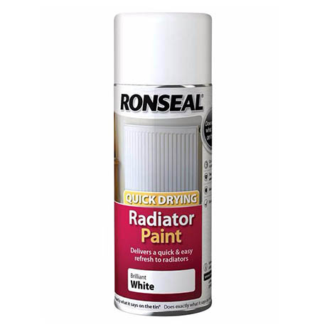 Ronseal Quick Dry Radiator Spray Paint 400ml - White Gloss