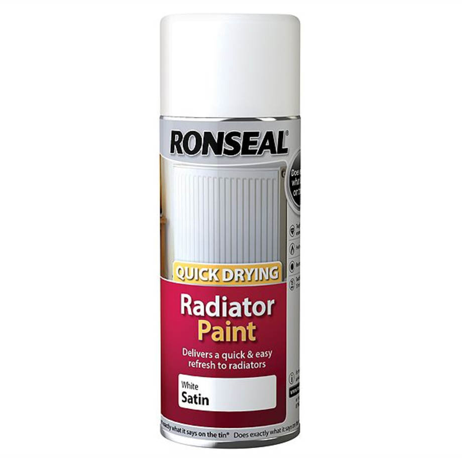 Ronseal White Satin Quick Dry Radiator Spray Paint 400ml