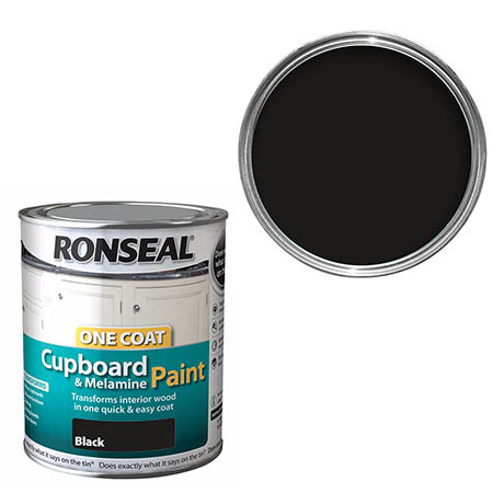 Ronseal One Coat Cupboard & Melamine Paint - Black Satin