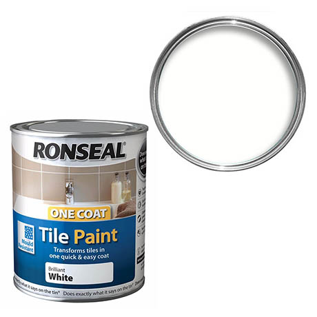 Ronseal One Coat Tile Paint 750ml - White Gloss