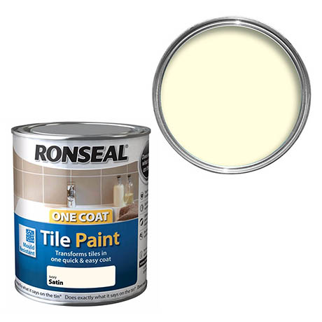 Ronseal One Coat Tile Paint 750ml - Ivory Satin