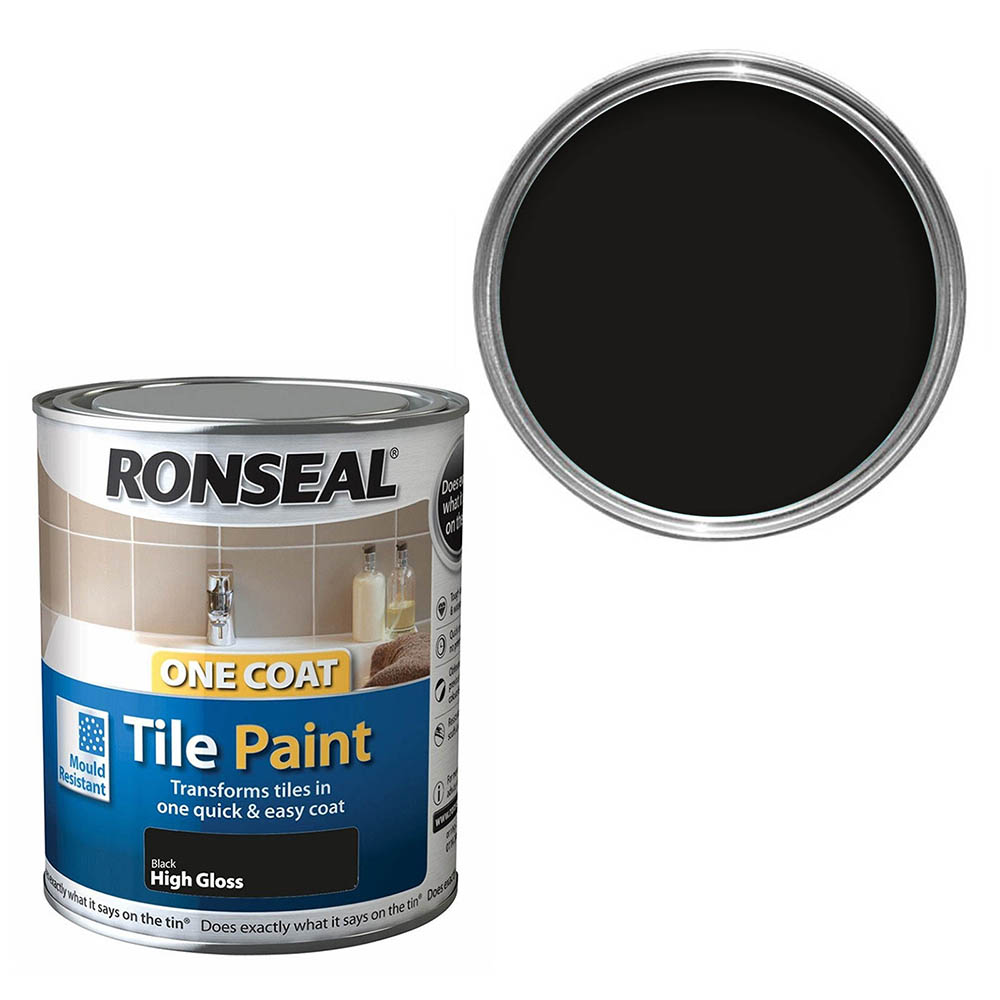 Ronseal One Coat Tile Paint 750ml - Black Gloss