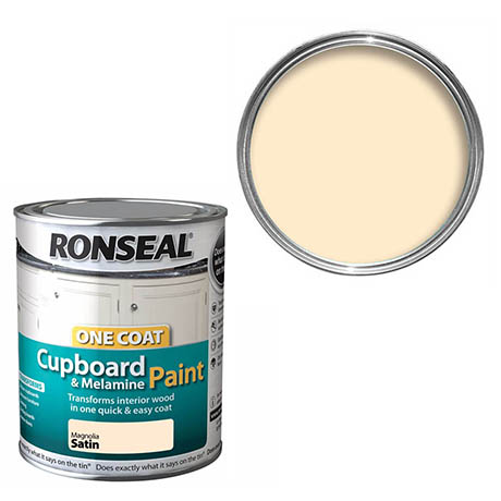 Ronseal One Coat Cupboard & Melamine Paint - Magnolia Satin