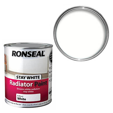 Ronseal Stay White Radiator Paint 750ml - White Satin