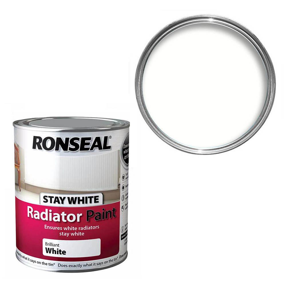 Ronseal White Satin Radiator Paint 250ml (Stay White)