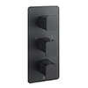 JTP Hix Matt Black Triple Outlet Thermostatic Concealed Shower Valve Vertical profile small image view 1