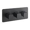 JTP Hix Matt Black Triple Outlet Thermostatic Concealed Shower Valve Horizontal profile small image view 1