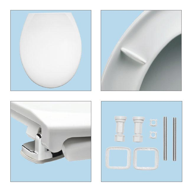 Bemis Oxford Toilet Seat with Adjustable Chrome Hinges - 3900CPT000 Feature Large Image