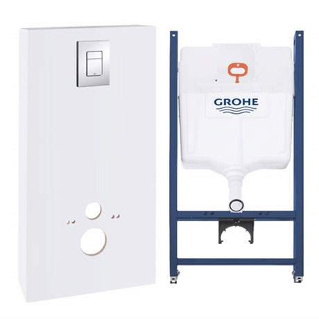 Grohe Solido Monobloc WC Unit Inc. Cistern Frame & Flush Plate - Moon White - 39377LS0