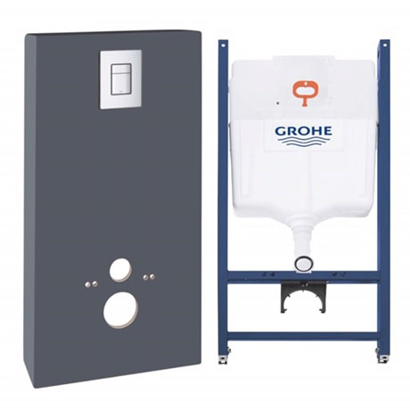 Grohe Solido Monobloc WC Unit Inc. Cistern Frame & Flush Plate - Slate Grey - 39377XI0