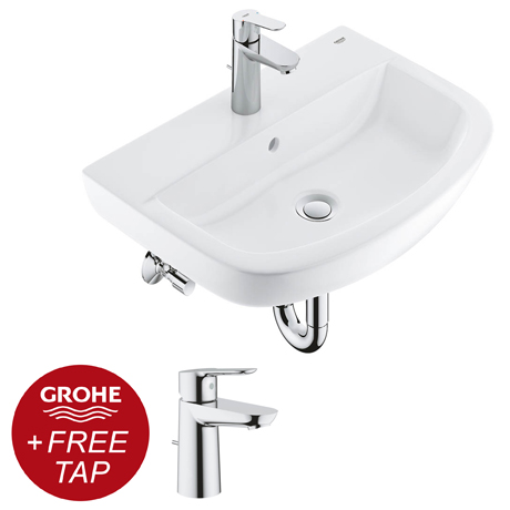 Grohe Bau Ceramic 550mm Complete Basin Package (Tap + waste included)