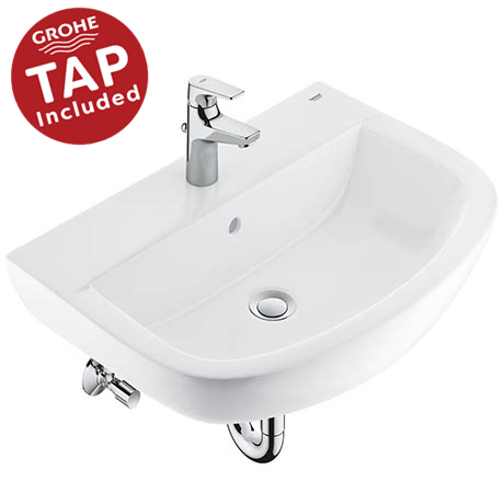 Grohe Bau Ceramic 600mm Complete Basin Package (Tap + waste included)